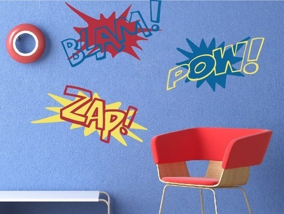 Super Hero Sound FX Wall Decal Set, Boy Bedroom Wall Decal, Superhero Wall Decals, You choose colors