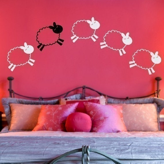 Counting Sheep Wall Decal - Neutral Nursery Decor - Baby Wall Decal - Boy Girl