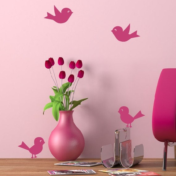Bird Wall Decals - Set of 4, Girls Bedroom, Nursery Wall Decals, Baby Nursery, Bird Decals
