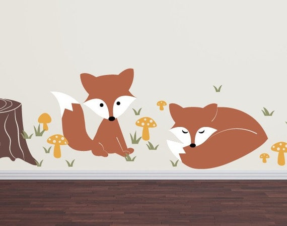Fox wall decal set children nursery boy girl vinyl decals for Baby boy wall mural