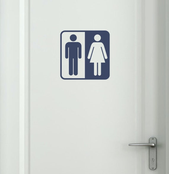 bathroom symbol vinyl decal bathroom decal bathroom door decal restrooms decal restrooms sign