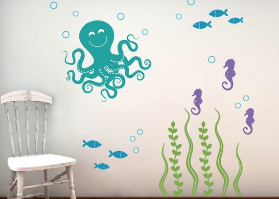 Wall Decal Set, Sea Ocean Friends, Nursery Wall Decals, Vinyl Decals, Childrens