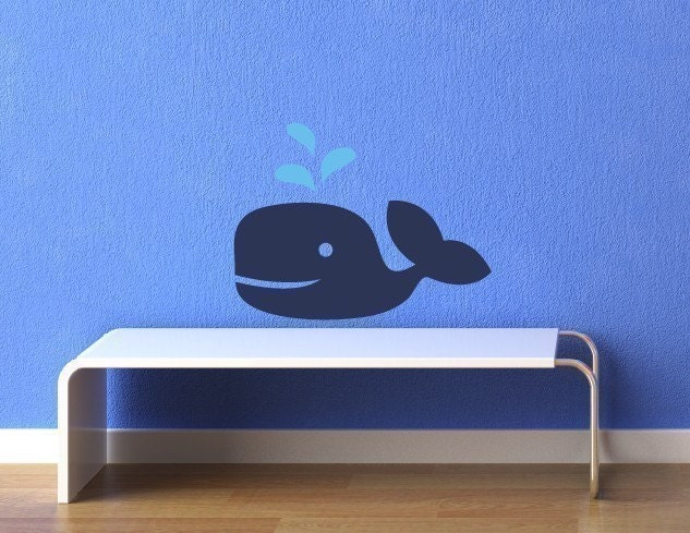maxie d  whale vinyl wall decal nautical nursery wall decal