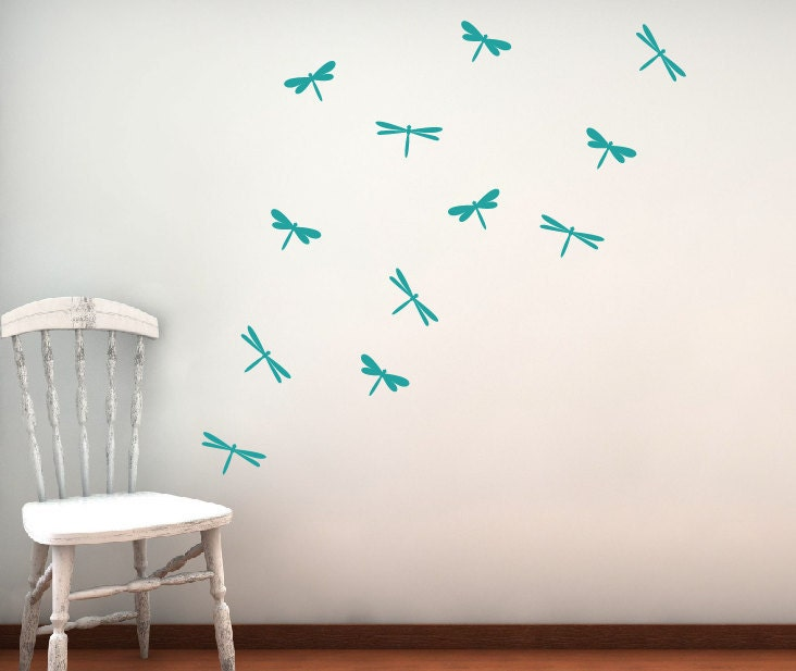 Dragonfly vinyl wall decal set children nursery girl bedroom for Dragonfly mural