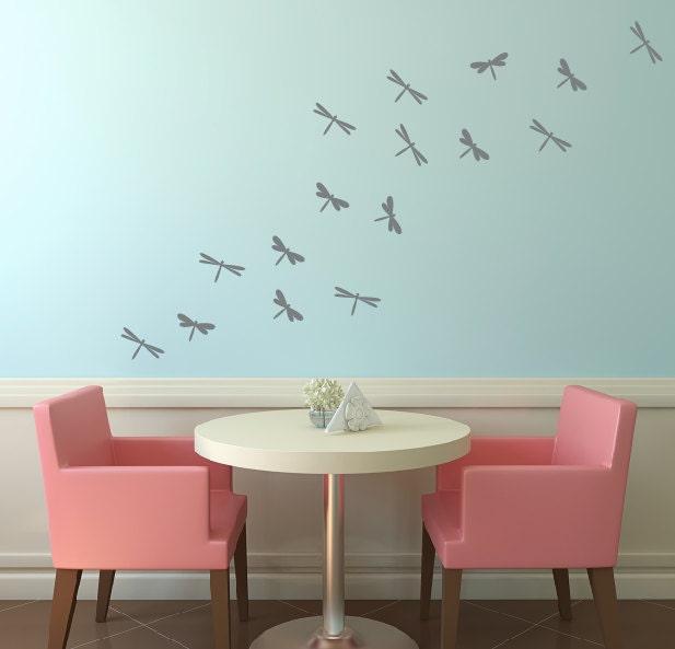 Dragonfly Vinyl Wall Decals, Childrens Wall Art, Girls Bedroom, Dragonflies Decals