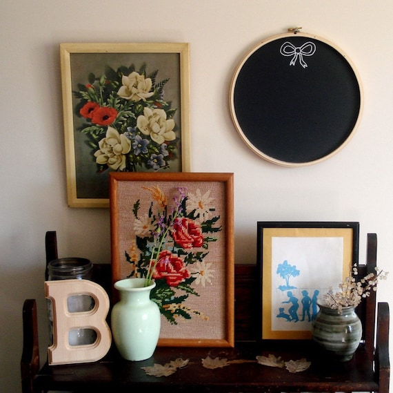 Embroidery hoop chalkboard - bow edition