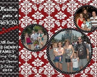 Digital Mickey Disney Damask Christmas Greeting Card