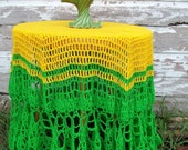 Crochet Table Cloth and Vase Green and Gold Instant Collection