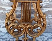 Vintage Music Holder Magazine Stand Harp Shaped in Gilded Gold