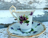 Hand painted Footed Tea Cup Teacup & Saucer Violets purple flowers Norcrest Demitasse