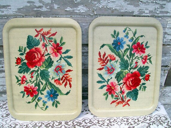 Vintage lot 2 of Toleware Metal Trays Needlepoint Floral Design