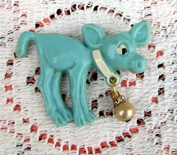 1940s Early Plastic Celluloid Brooch Baby Blue Cow Calf