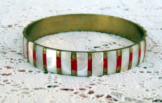 Brass and Mother of Pearl Bracelet Red and White Striped