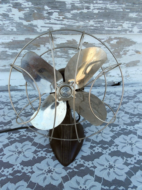 Vintage 1930s Industrial brown Cage Fan Small size Cast Iron Bottom RESERVED FOR FIFI