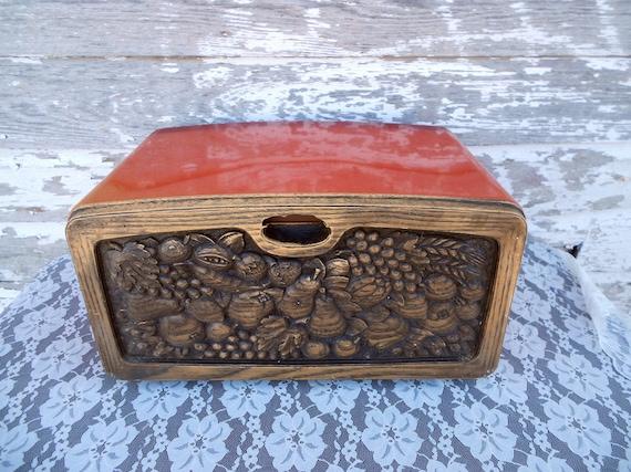 Vintage Orange metal bread box 1970s with a shelf
