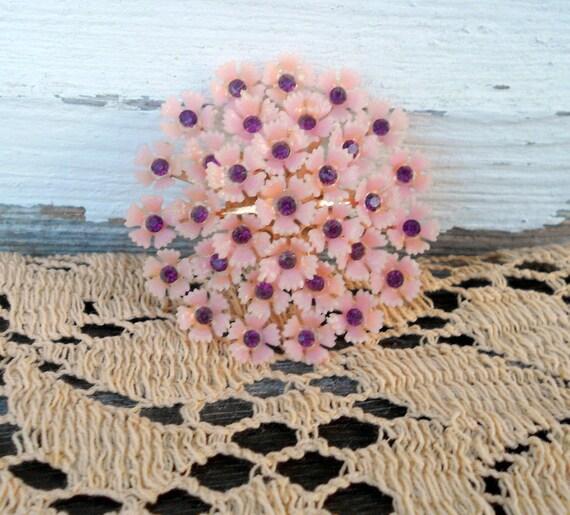 Vintage Plastic flower Brooch with rhinestones Pink
