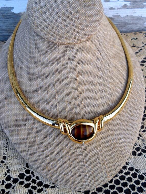 Egyptian Revival Collar Necklace Tigers Eye with Rhinestones Statement Bib Choker