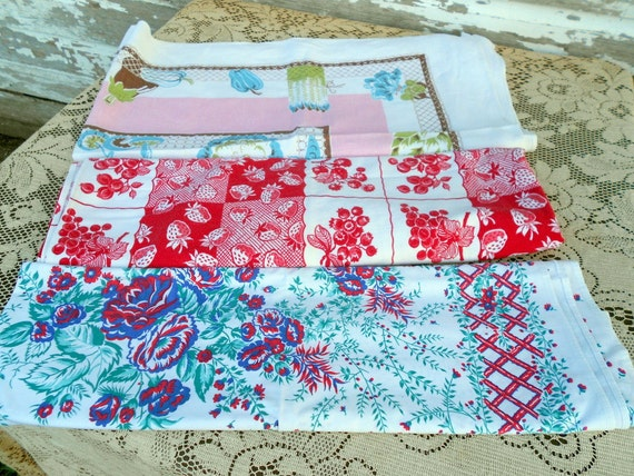 Vintage Lot Tablecloths Florals,strawberries, Fruit 1950s