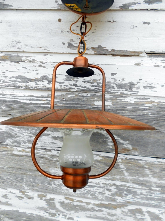 Copper Hanging light lantern style Arts and Crafts Mission Style RESERVED for LINDA