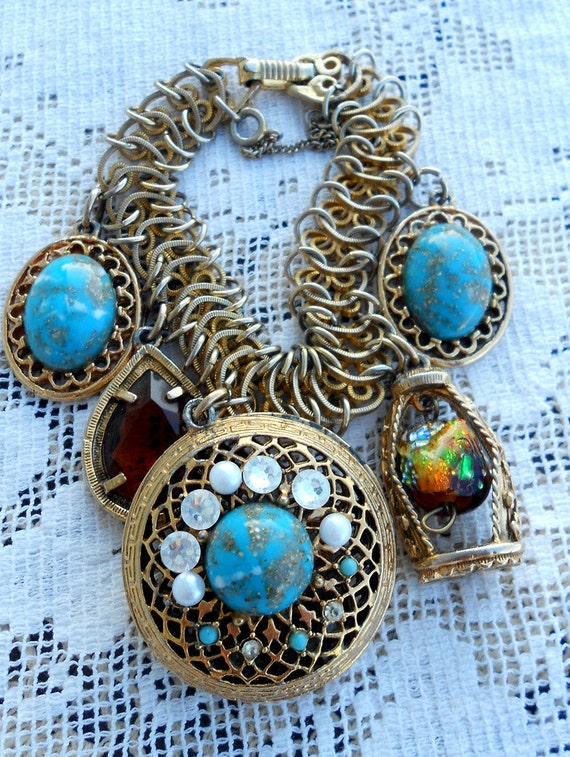 Vintage Charm Bracelet Large Glass Charms Turquoise and Amber