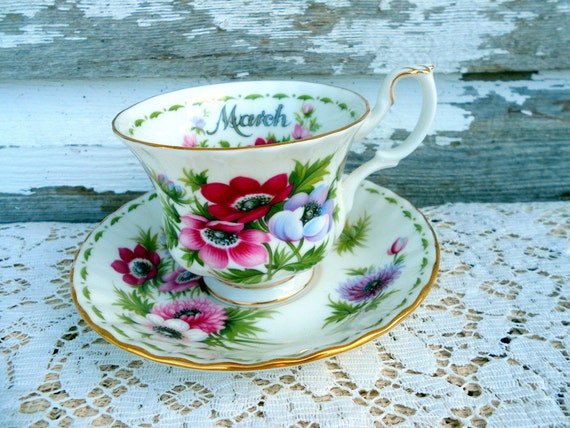 Floral Teacup Flower of the Month March English Bone China
