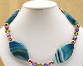 Handmade Necklace Gold Amethyst Blue Agate