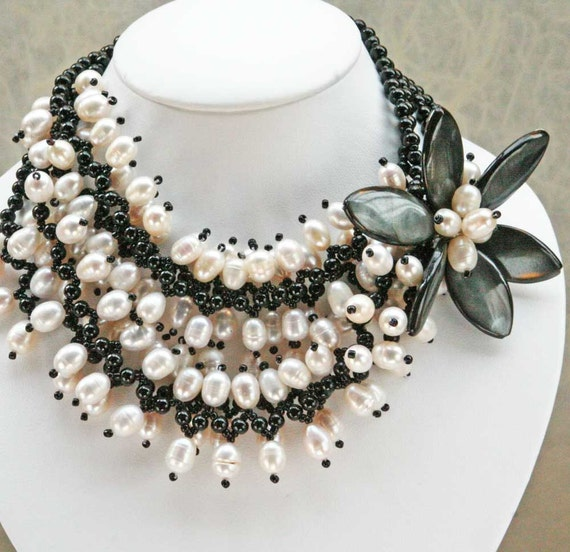 Black MOP Flower Onyx Beads and Pearl, Handmade Wedding Necklace