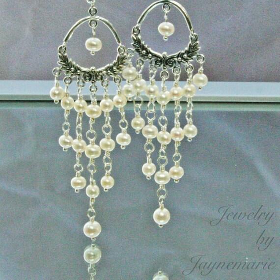 Handmade Pearl Earrings Dangle Chandelier Bridal Sterling Silver  Freshwater Pearls Custom Colors and Swarovski Crystal Earrings