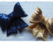 Blue  and Gold Sequin Bow Clip Set