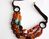 Multi-strand Chunky Brazilian Agate, Turquoise and Amber necklace