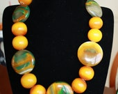 Chunky African Amber and Agate Necklace