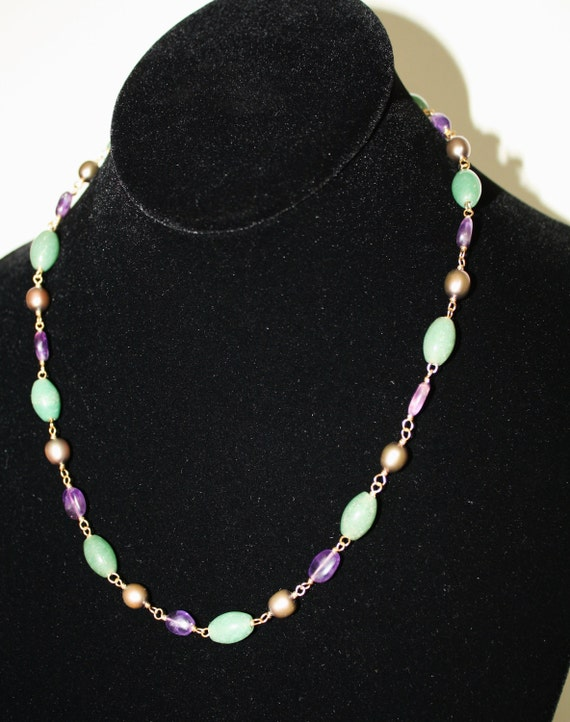 Pearl, jade and amethyst necklace