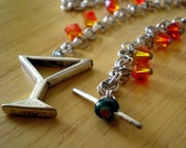 Fire Crystal Martini Necklace