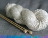 Undyed Yarn Chunky, Natural Merino Silk Ecru Aran Singles Yarn, 100g