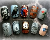 Edgar Allan Poe Press On Nails for The Darkly Mysterious, Gothic Nail Art, Gothic Fake Nails, Edgar Allan Poe Nail Art