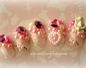 Japanese 3D Nail Art- Kawaii Rose Princess Fake Nails