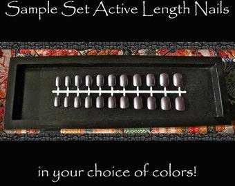 Short Fake Nails, Plain Color Nails, Single Color Petite Press On Nails, Sample Nails, Active Length Nails Sample, Choose Your Color Nails