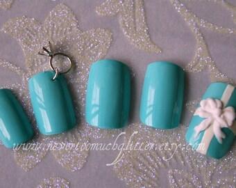 Otherwise Engaged. Bridal/Engagement/Wedding Press On Nails (Custom) Japanese 3D Nail Art, Fake/False Bridal Nails