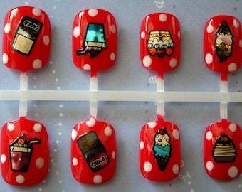 Candy Shop Fake Nails- Press On Nails- Polka Dot-Short Fake Nails- Cute- Japanese Style- Cosplay- Acrylic Nails- Glue On Nails- Nail Art