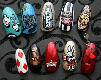 Handpainted Alice In Wonderland Fake False Press On Nails, Choose Stiletto, Almond or Square Nails, Gothic Nails, Alice,  Japanese Nail Art