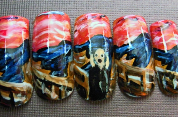 The Scream Handpainted Japanese Nail Art (Custom)