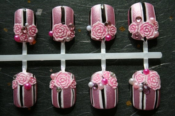 Japanese Nail Art- French Lingerie Press On Nails
