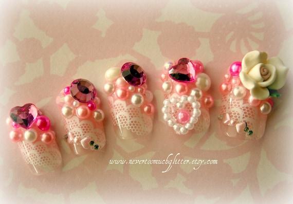 Japanese 3d Nail Art Kawaii Rose Princess Fake Nails