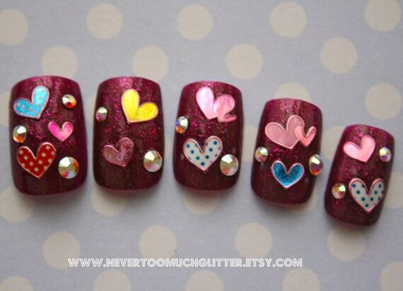 Japanese Nail Art- Whole Lotta Love (Larger Size) Press On Nails