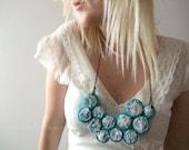 Blue Fibre Bib Necklace with Lace