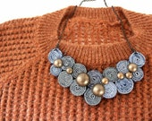 Recycled Levis Jean Bib Necklace No15
