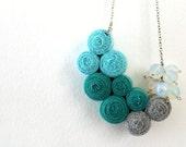 Ocean Fibre Necklace with Opal Stones