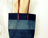 Recycled Jean Bag with Leather Strap