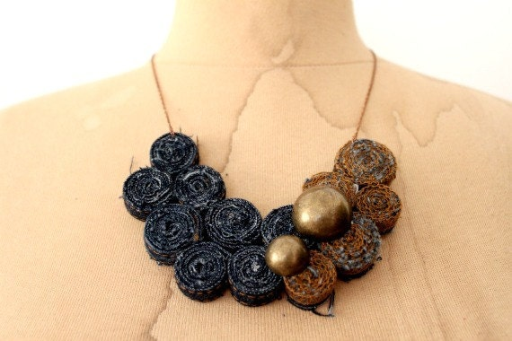 Recycled Levis Jean Bib Necklace No17