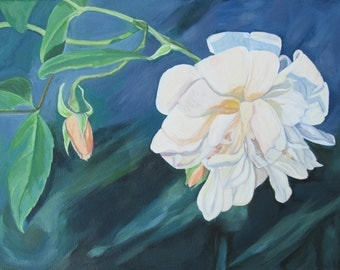 A Tale of Two Roses- Original Acrylic Flower Painting